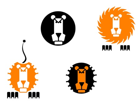 Four lion icons isolated on white background