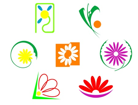 Set of flowers icons isolated on white Vector
