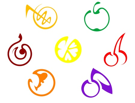 Set of colorful fruits icons isolated on white Vector