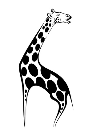 giraffe silhouette: Wild giraffe as a mascot isolated on white Illustration