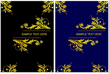Two color banners with gold floral decoration Stock Vector - 10942650