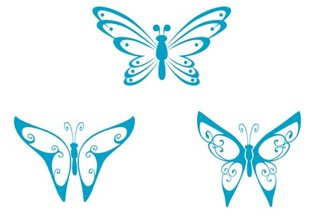 Isolated tattoos of butterfly on white background Stock Vector - 10942156