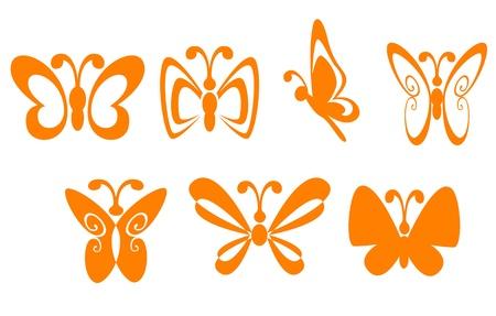 silhouette papillon: Jeu de symboles papillon pour la mascotte ou un emblème