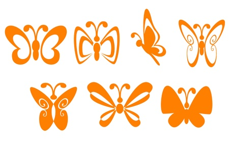 butterfly silhouette: Set of butterfly symbols for mascot or emblem Illustration