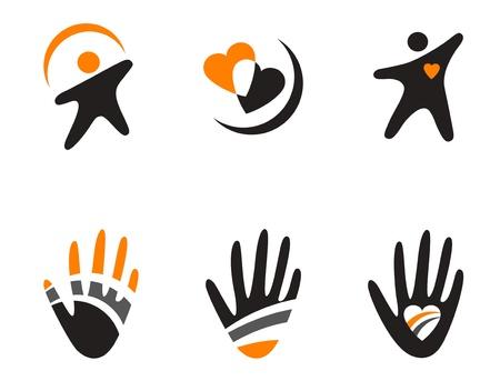 mani cartoon: Set di simboli di colore isolati su bianco Vettoriali