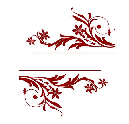 cartouche: Floral vector decorations isolated on white background