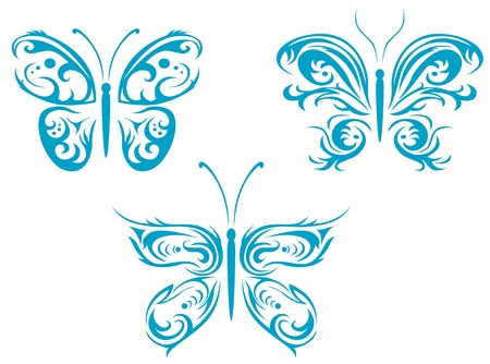 Isolated tattoos of butterfly on white background Stock Vector - 10942312