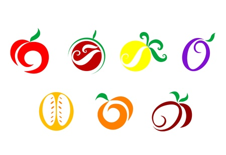 tomatoes: Set of  fruits nd vegetables icons isolated on white Illustration