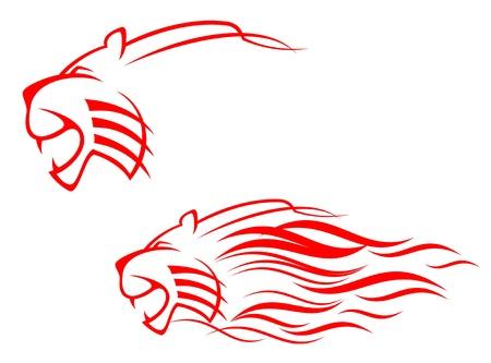silueta tigre: Red signo de tigre aislado en blanco como símbolo de peligro