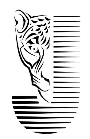silueta tigre: Signo salvaje como un símbolo de peligro. Aislado en blanco Vectores