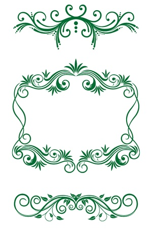 victorian fashion: Vintage floral decorations and frames  isolated on white Illustration