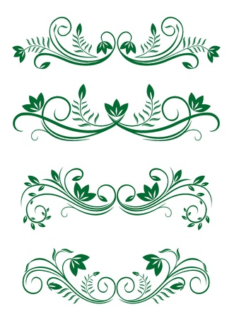 Vintage floral decorations isolated on white for design Stock Vector - 10942554