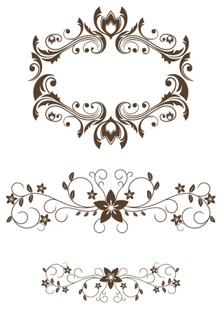 cartouche: Vintage floral decorations isolated on white for design
