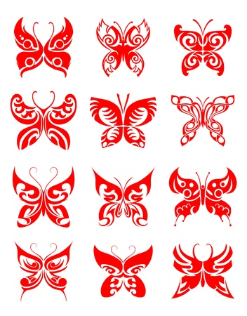Tattoos set of butterfly on white background for design Vector