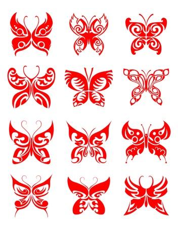 celtic design: Tattoos set of butterfly on white background for design