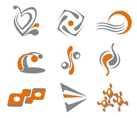 office products: Conjunto de diferentes s�mbolos abstractos para el dise�o