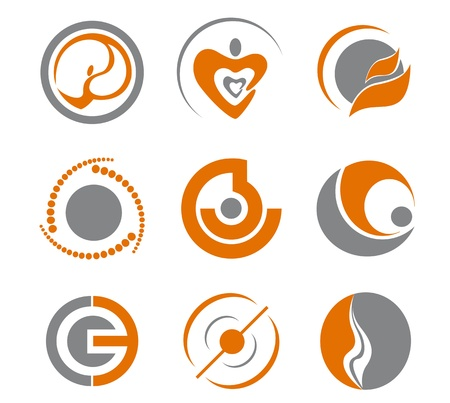computer mascot: Set of different abstract symbols for design Illustration