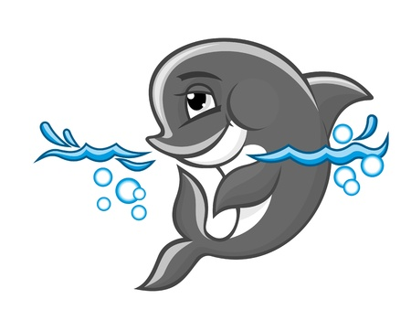 Beautiful blue dolphin in water for nature or children book design Vector