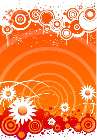 Summer floral background with flowers and sun lights Vector