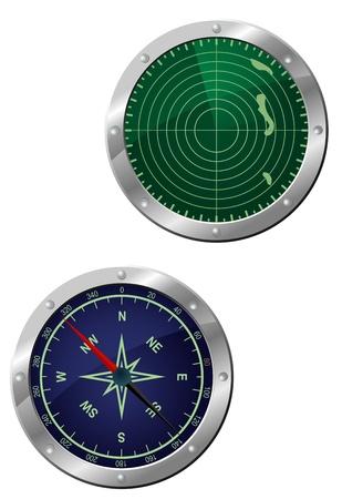 sonar: Submarine attrezzatura - bussola di navigazione e dispositivi radar a icona di stile