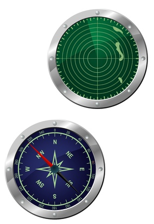 Submarine equipment - navigation compass and radar devices in icon style Vector
