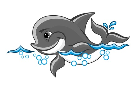 swims: Beautiful baby dolphin in water for nature or children book design Illustration