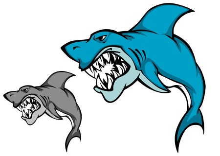 danger to life: Danger shark with sharp tooth for mascot design in cartoon style