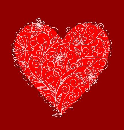 Abstract red floral heart for textile or invitation card design Stock Vector - 11006327