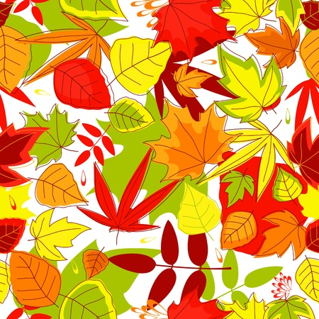 Autumn falling leaves seamless background for seasonal design Vector