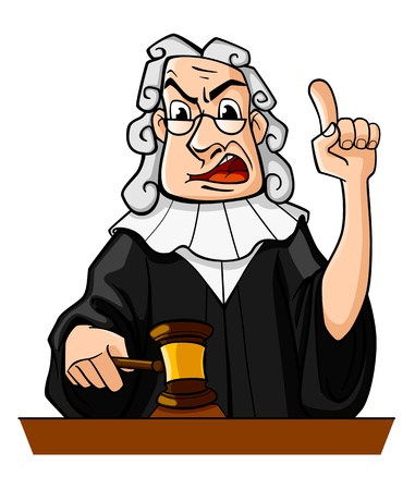 Judge with gavel makes verdict for law concept design Vector