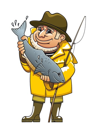 trout fishing: Smiling fisherman in cartoon style catching a fish