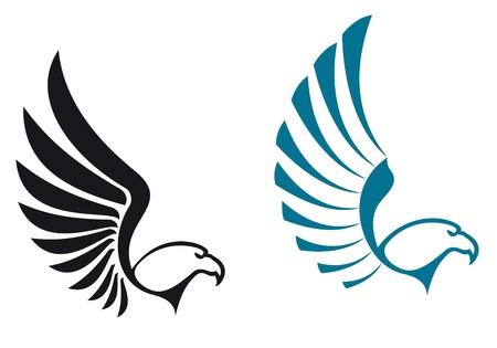 halcones: S�mbolos aisladas sobre fondo blanco para el dise�o de la mascota o el emblema del �guila Vectores
