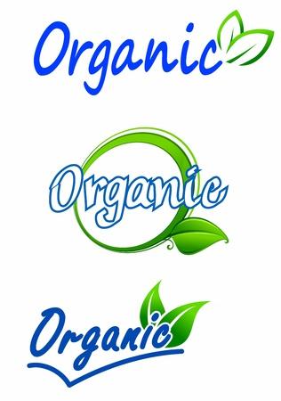 saludable logo: Ecolog�a y naturaleza s�mbolos para el dise�o de alimentos y medio ambiente