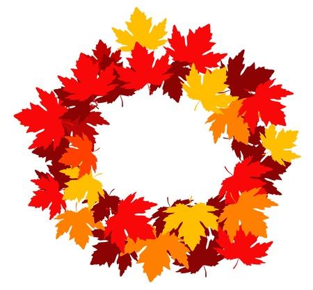 elm: Autumnal falling leaves frame for seasonal design Illustration