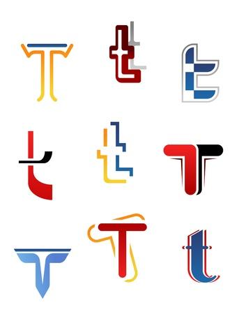 logo logotype: Set of alphabet symbols and elements of letter T Illustration