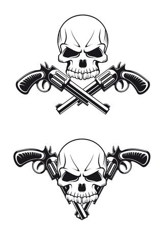 hooligan: Danger Sch�del mit Revolvern f�r Tattoo-Design