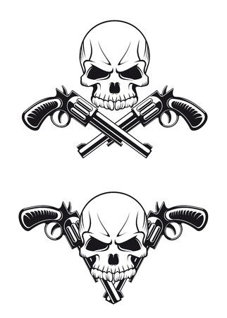 Danger skull with revolvers for tattoo design Illustration
