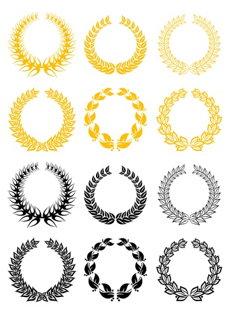 Set of gold and black laurel wreaths Stock Vector - 11006289