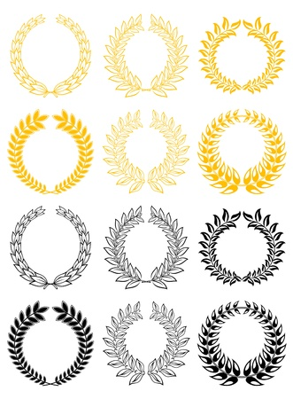 wreath of wheat: Set of gold and black laurel wreaths
