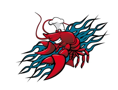 crayfish: Smiling red prawn in cartoon style for tattoo design Illustration
