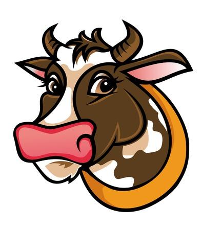 vee: Brown boerderij koe op een witte voor de landbouw ontwerp Stock Illustratie