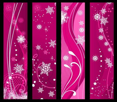 christmas tree purple: Christmas and winter banners for holiday design