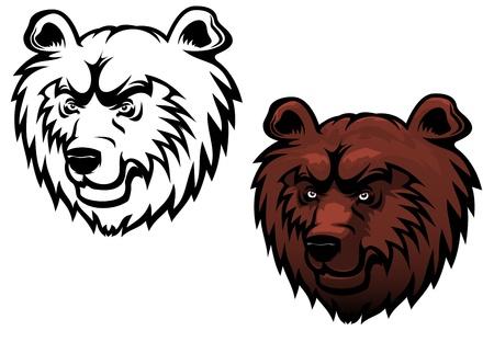 grizzly: Sauvage kodiak ours comme une mascotte ou d'un tatouage isolé sur blanc
