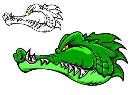 caiman: Cartoon crocodile head for tattoo or mascot design