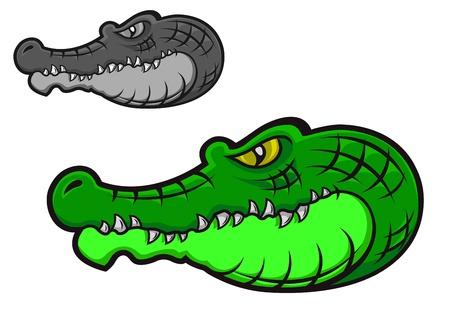 caiman: Green cartoon crocodile head for tattoo or mascot design