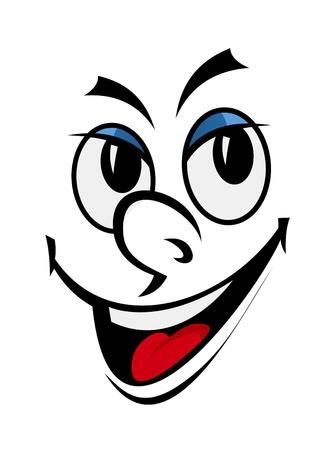 Cartoon grappig gezicht met een glimlach voor strips ontwerp