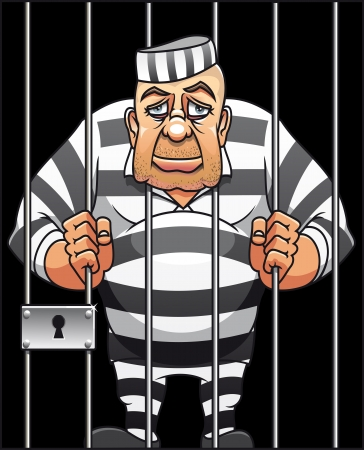 Captured danger prisoner in cartoon style for justice design Illustration