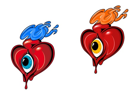 Red retro hearts with eye for tattoo design Vector