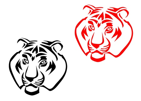 snarling: Tiger mascots isolated on white for tattoo design Illustration