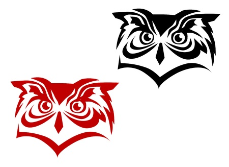 fairy silhouette: Owl tattoos isolated on white as a wisdom concept